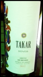 Takar, Areni Noir, Republic of Armenia, 2012, 13% abv, 4,800 Armenian Drams (C$14)